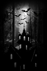 Halloween. Night. Moon, castle and bats