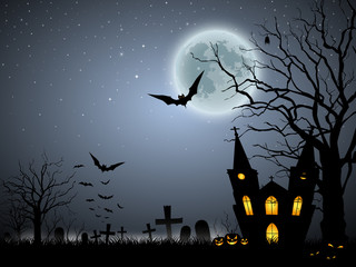 Halloween scary background, vector illustration