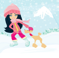 winter girl and her dog