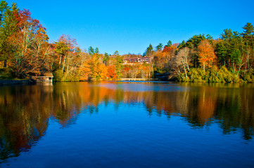 blue lake reflections during autumn