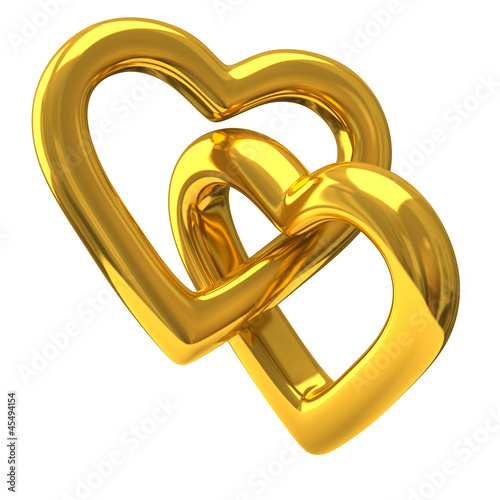 Two heart shaped wedding rings together 3d Stock photo and