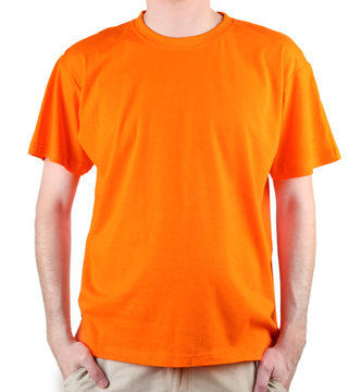 man in orange T-shirt close-up
