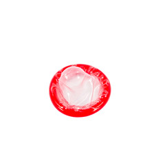 Red condom isolated on white background with clipping path