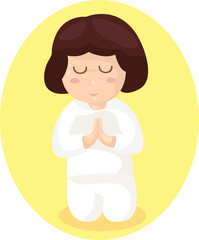 cartoon girl praying