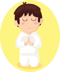 cartoon boy praying