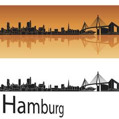 Hamburg skyline in orange background