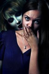 vampire bites scared girl