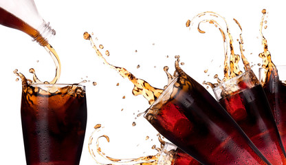Fresh coke background with splash