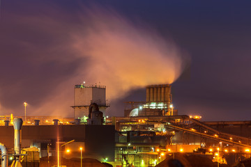 Heavy industry at night in The Netherlands