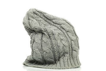Oversized beanie in grey color on a white background