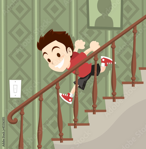 """Little boy running downstairs"" Stock image and royalty ..."