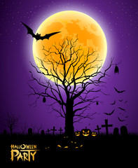 Halloween tree full moon purple background, vector