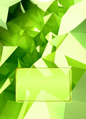 green triangular three dimensional shape card cover illustration