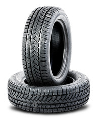 two tires on the white background