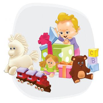 Toys 01. 9 in 1 illustration. EPS 10 illustration.