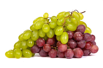 Bunch of White and Red Grapes laying isolated