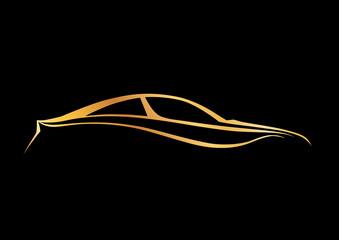 Siyah üzerine altın marka otomobil