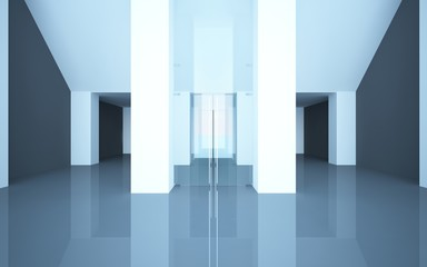 abstract interior office or shop with glass doors