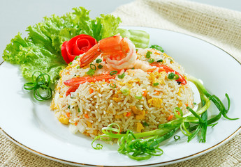 Fried rice with shrimp or prawn a taste of asian food