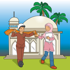 Indonesian Muslim Kids and Mosque