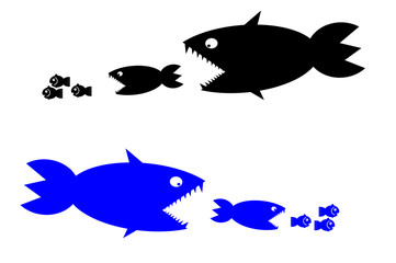 food chain, a small fish is food for big fish,metaphorical.