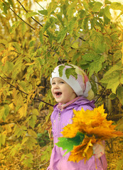 the child in the autumn wood