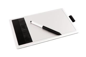Modern digital drawing pad, pencils.
