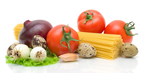 vegetables, eggs, spaghetti on a white background