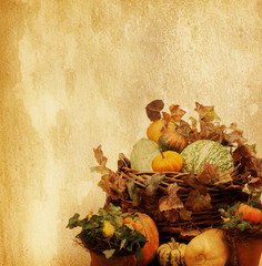 old paper with decorative pumpkins