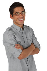 College age man folding arms