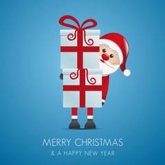 santa hold gift boxes
