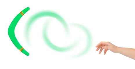 Hand and boomerang