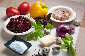 Ingredients for tuna salad with beans