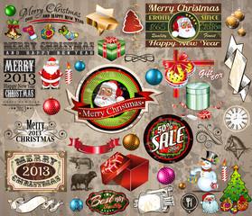 2013 Christmas design elements: vintage labels. ribbons,...