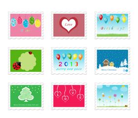 9 sellos para postales temáticas