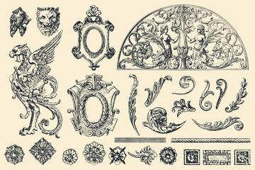 Hand drawn vector retro ornaments