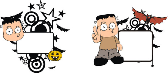 frankenstein kid halloween copy space