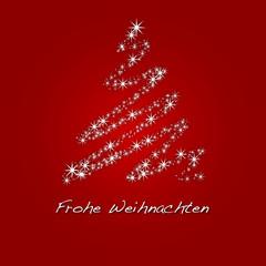 Frohe Weihnachten - Sternen Baum - Rot