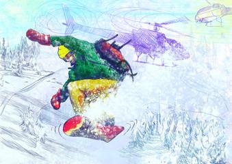 Winter sports - Paramedic snowboarding (original drawing)