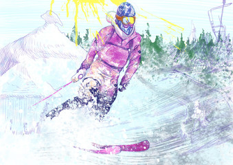 down hill skier (this is original drawing)