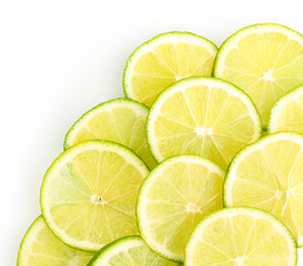 Tuinposter Plakjes fruit Lime close up isolated on white