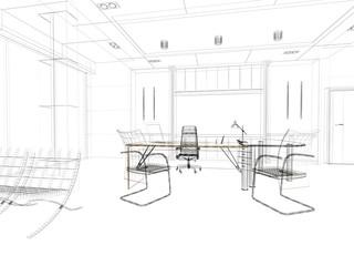 ufficio, scrivania rendering wireframe tratto