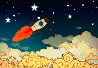 Poster Cosmos Cartoon rocket flying to the stars