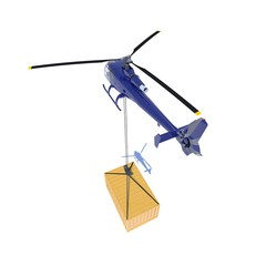 Helicopter with a container secured with steel wire