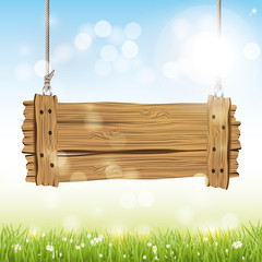 Spring vector background  with wooden sign