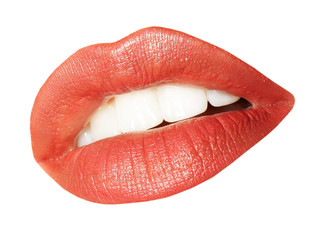 Female lips on a white background