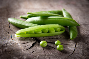 Fresh peas close-up