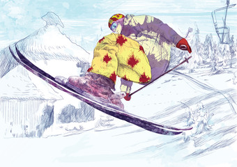 Free style skier, trick (this is drawing converted into vector)
