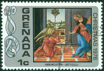 stamp printed in Grenada, shows painting, Christmas