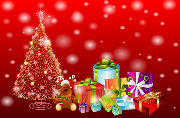 Illustration of  gifts and Christmas tree. Merry Christmas